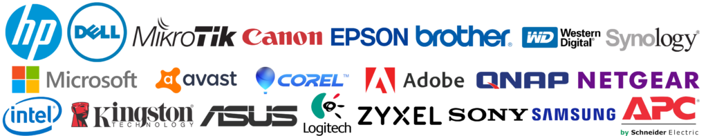 HP, Dell, Mikrotik, Canon, Epson, Brother, Western Digital, Synology, Microsoft, Avast, Corel, Adobe, Qnap, Netgear, Intel, Kingston, Asus, Logitech, Zyxel, Sony, Samsung, APC
